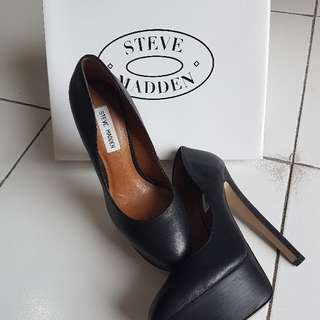 Authentic - Steve Madden - Daeva Black Leather Pump Shoes