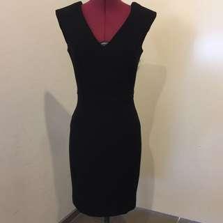Mango Fitted Black Dress with V Plunge Neck