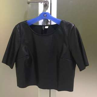 H&M Leather Crop Tee