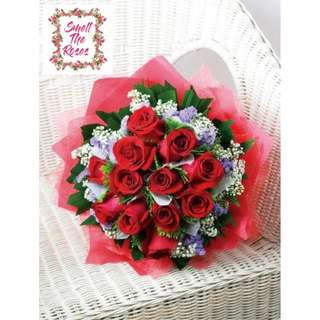 """You are the best thing that happened to me"" 12 Stalk Red Roses, Baby Breath & Statice Bouquet w/ FREE DELIVERY SURPRISE"