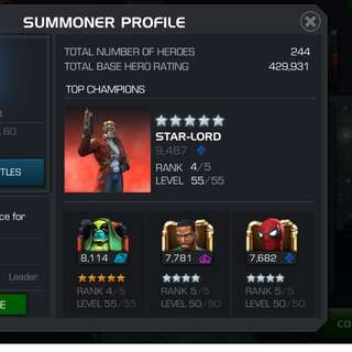 Marvel contest of champions high level acct (legend)