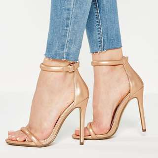Missguided gold two strap barely there sandals