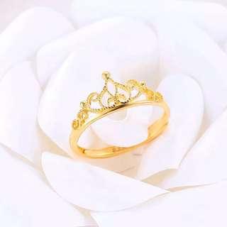 真愛皇冠 黃金戒指指環足金女戒活圈口