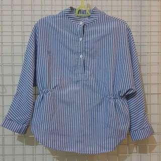 全新💥藍白收腰直條紋衫