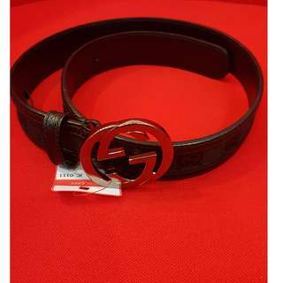 GUCCI Slim Black leather GG canvas 40-100 INTERLOCKING G buckle belt Authentic