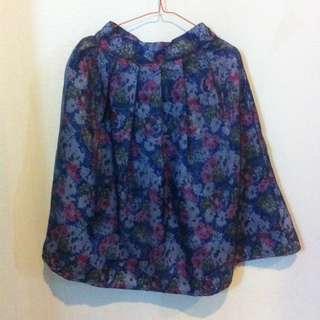 Blue Seethrough Floral Midi Skirt