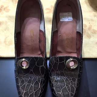 Croc Leather Brown Shoes