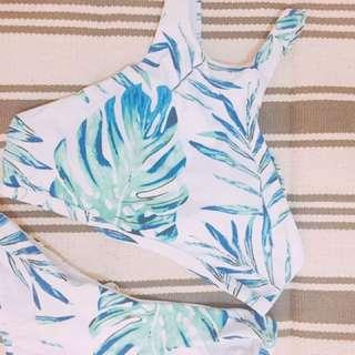 🌿葉子打印交錯比基尼泳衣