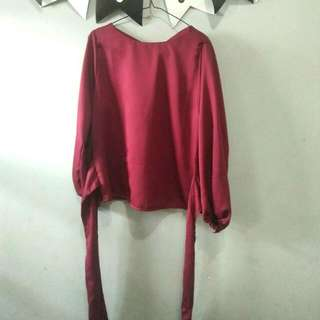 Ribbon Shirt Maroon