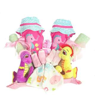 Twins Seahorses Baby Gift Basket - Baby Shower
