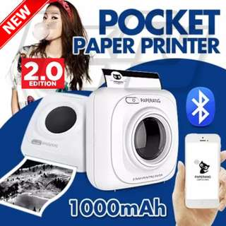 *New Version 2.0*  Paperang Portable Bluetooth 4.0 Mobile Instant Ink Free Photo Thermal Label Printer (Supports Android & iOS phone, Works like Polaroid, Instax, Lomo)