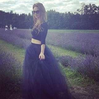 Long Black Tulle Skirt