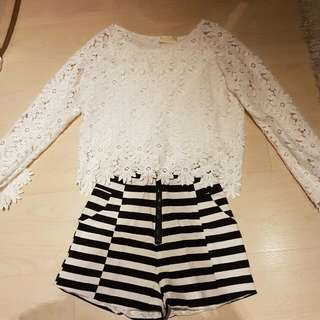 White Lace Applique Cropped Top