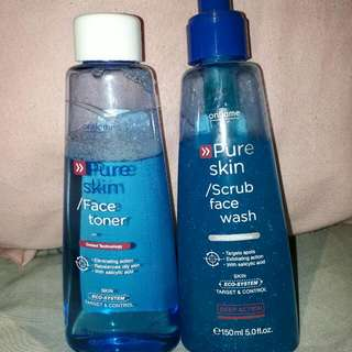 Pure Skin (Face Toner) dan Pure Skin (Scrub Face Wash) From Oriflame