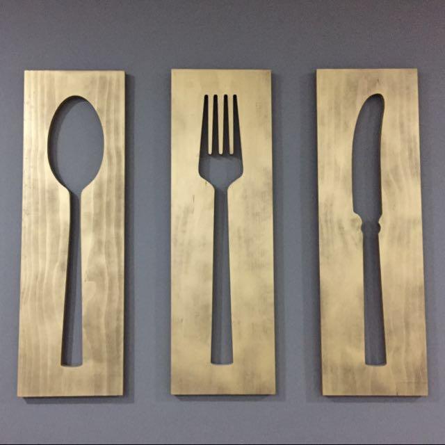 Modern Fork Spoon Knife Wall Decor Gallery - Wall Art Design ...