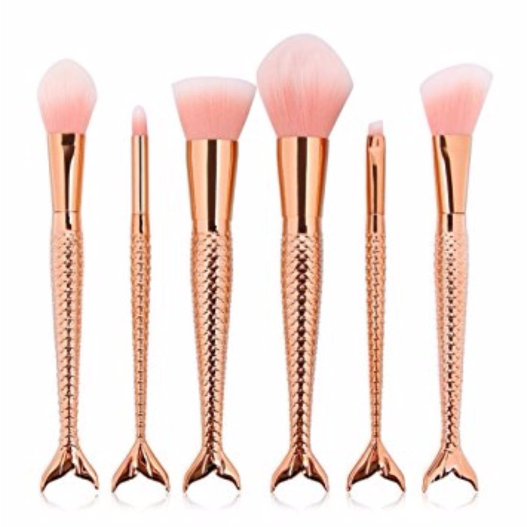 (On Hand)6 Pieces Mermaid Tail Brush Set (Rose Gold)