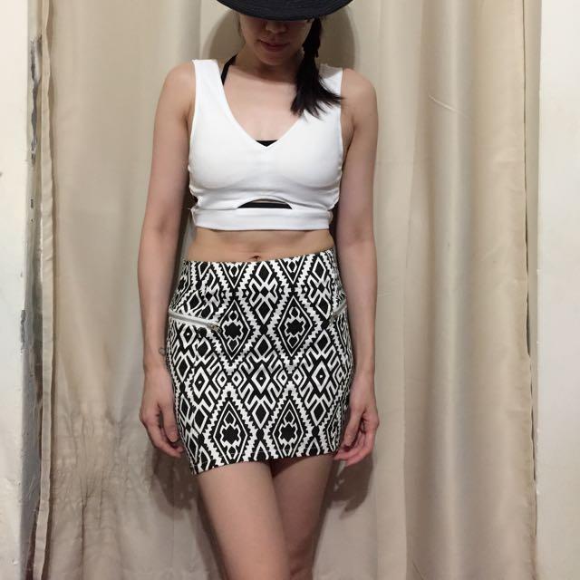 復古黑白幾何圖形前短後長窄裙