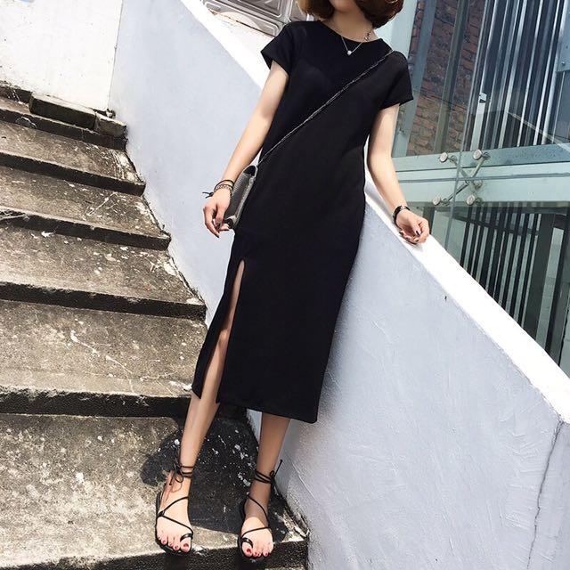 側邊開叉修身長版氣質小黑裙