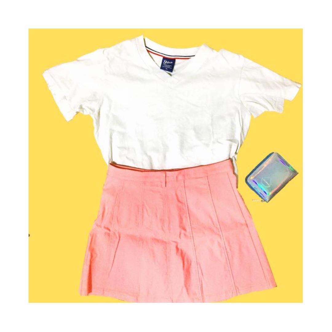 (含運)二手| 韓韓的粉嫩純色壓褶縫線修身短裙#含運最划算