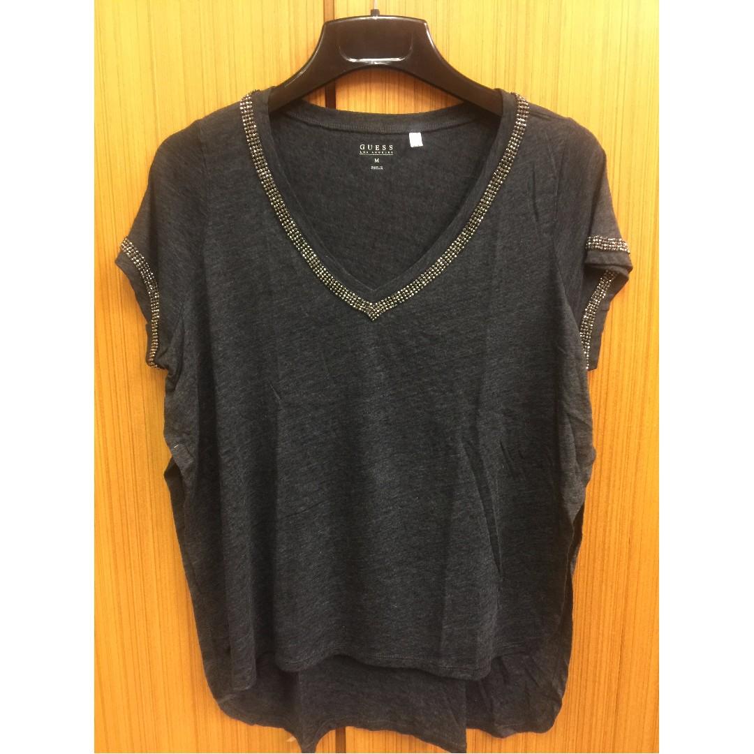 (全新) GUESS 深灰色休閒上衣 寬鬆版 (美國尺寸2XS & L號)