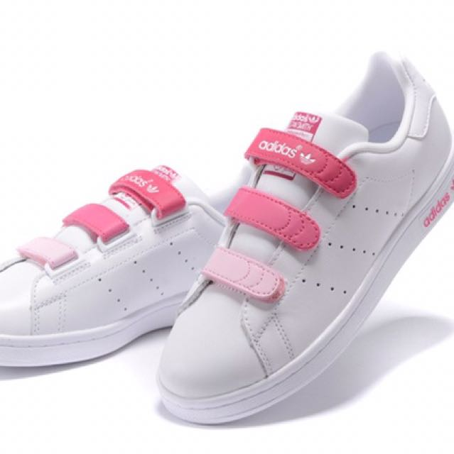 ADIDAS Stan Smith Velcro Gradient White/Rose Sneakers, Women's Fashion, Shoes on Carousell