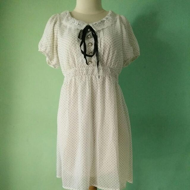 (After All) White Polka Dress
