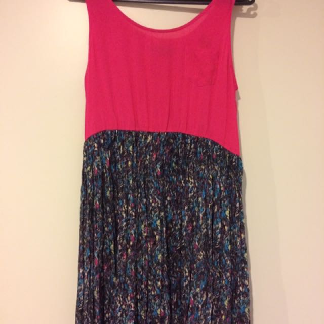 Basic Dress Pink And Black