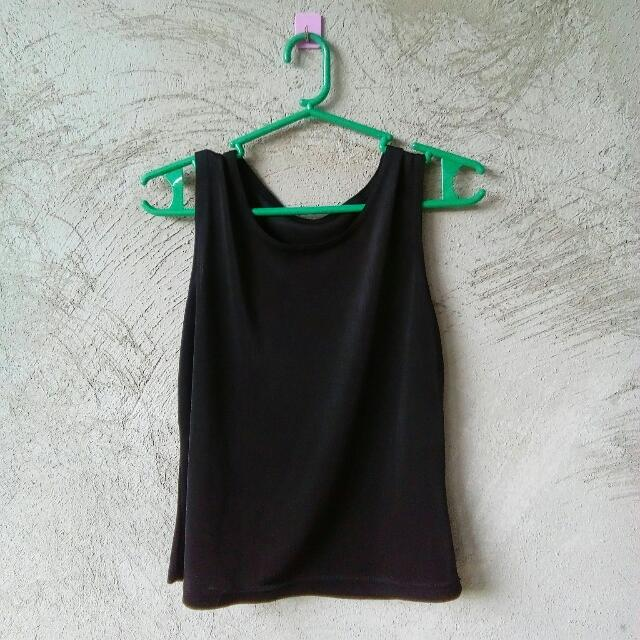 Black Semi-crop top