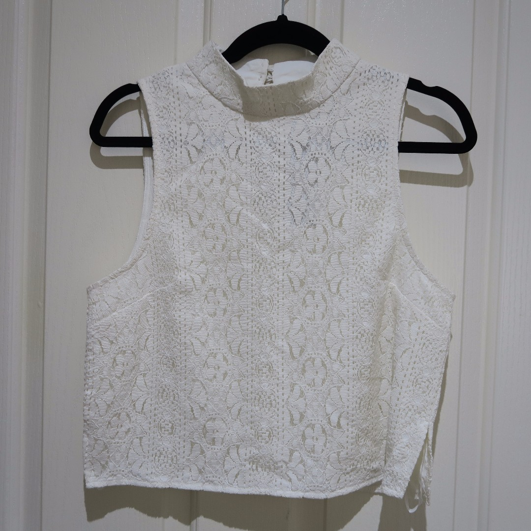 BNWT White Lace Crop High Neck