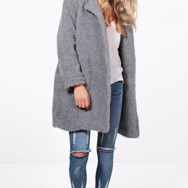 boohoo fur coat