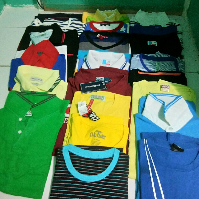 Branded Polo shirts and plain Tees