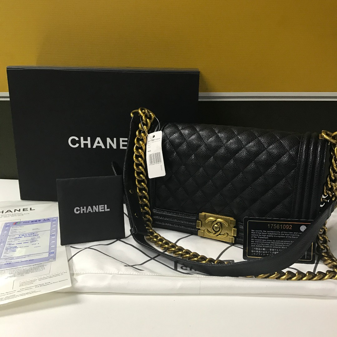 Chanel Boy Bag Black Caviar Old Medium Antique Gold Hardware