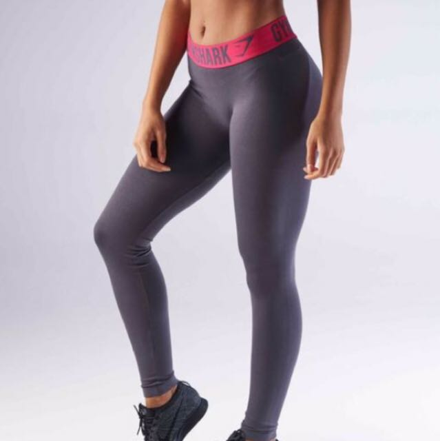 Charcoal/Cranberry Gymshark Fit Leggings Size Small