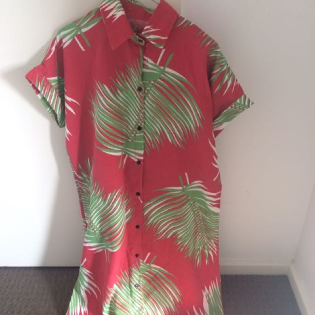 Cotton Leaf Print Dress Red And Green