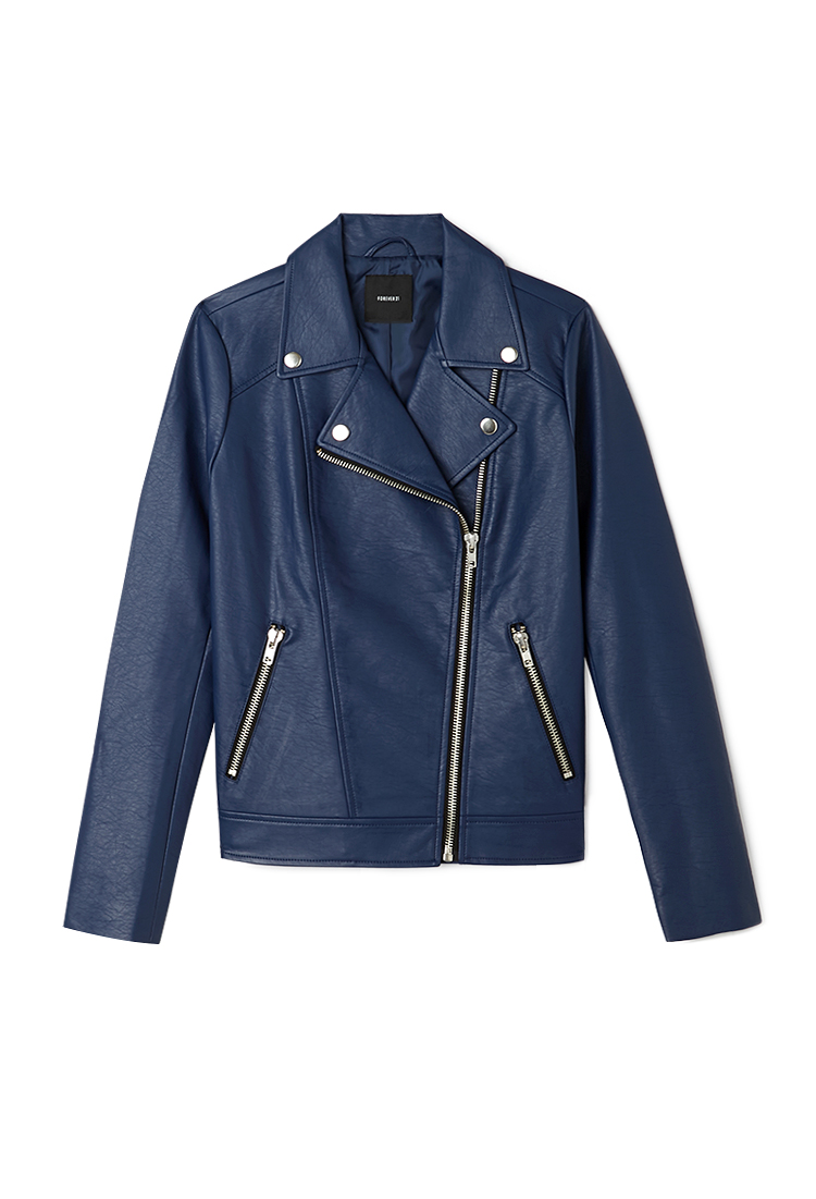 Dark Blue Leather Jacket forever 21