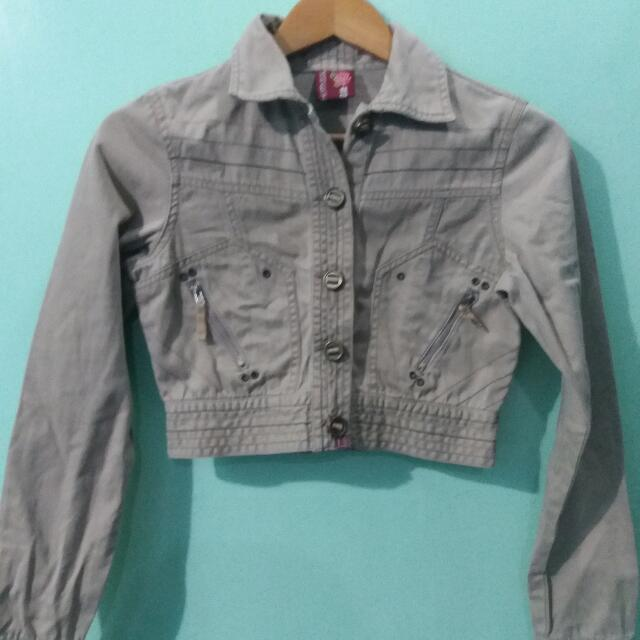 Denim Brown Croptop Jacket