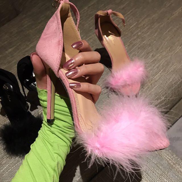Fashionnova Fur Heels Pink And Black