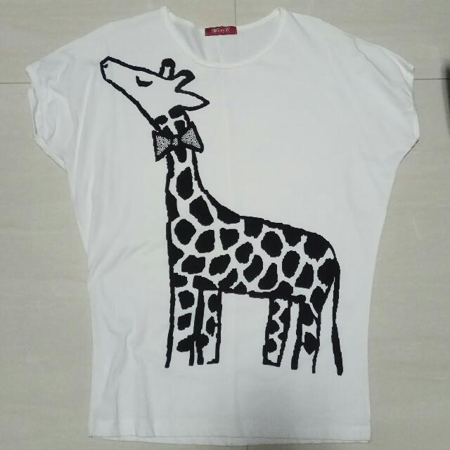 a2e5ff5c Giraffe Print T-shirt, Women's Fashion, Clothes, Tops on Carousell