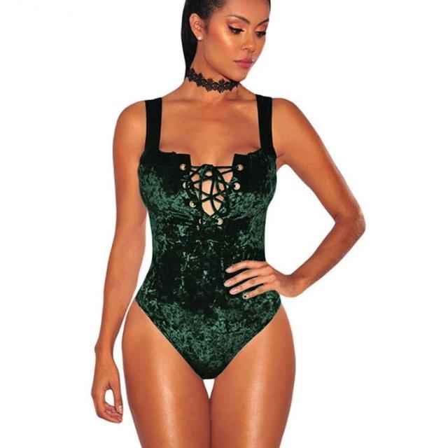 Green Velvet Lace Up Bodysuit