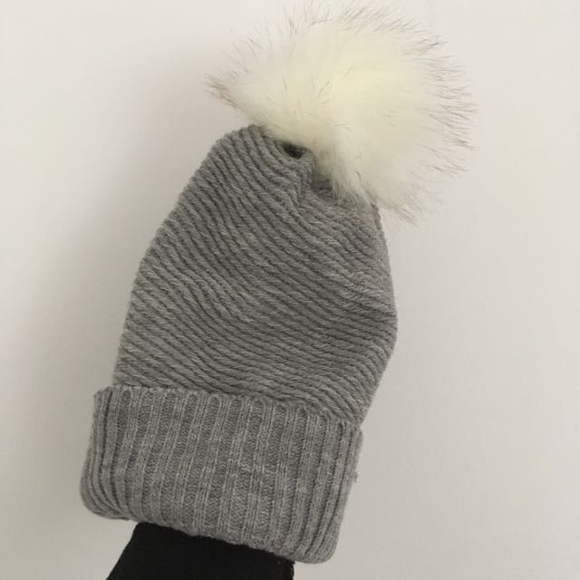 Grey Hat With White Pompom Bought From Ardene