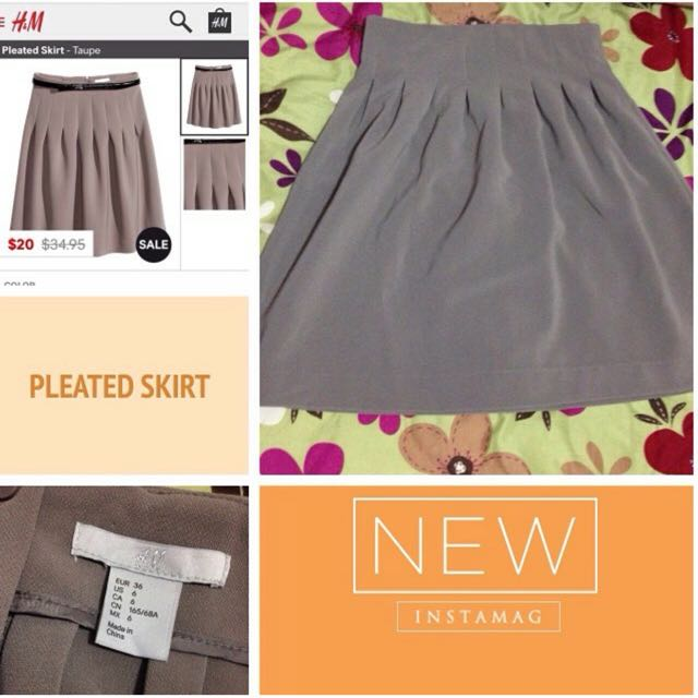 H&M Pleated skirt in Taupe