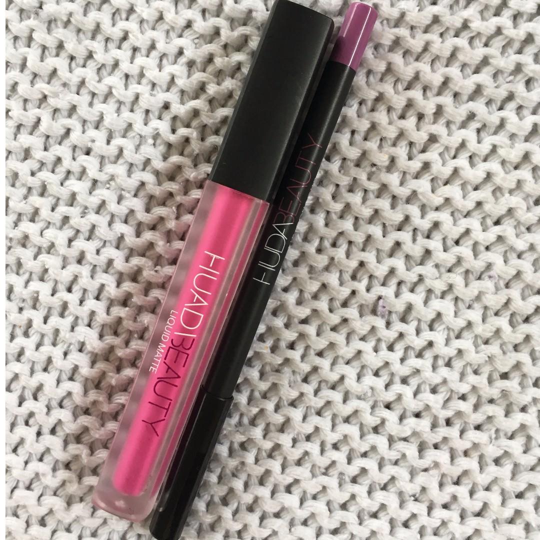 Huda Beauty liquid lipstick & liner