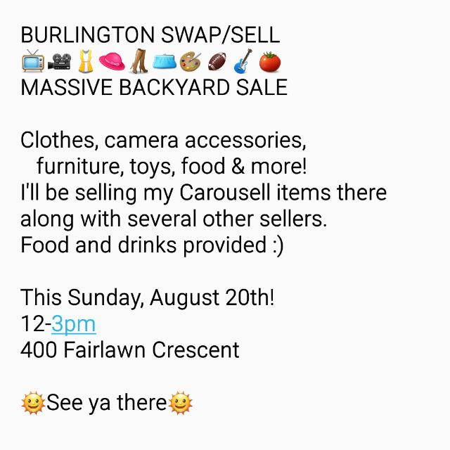 Huge Backyard Sale/Swap!