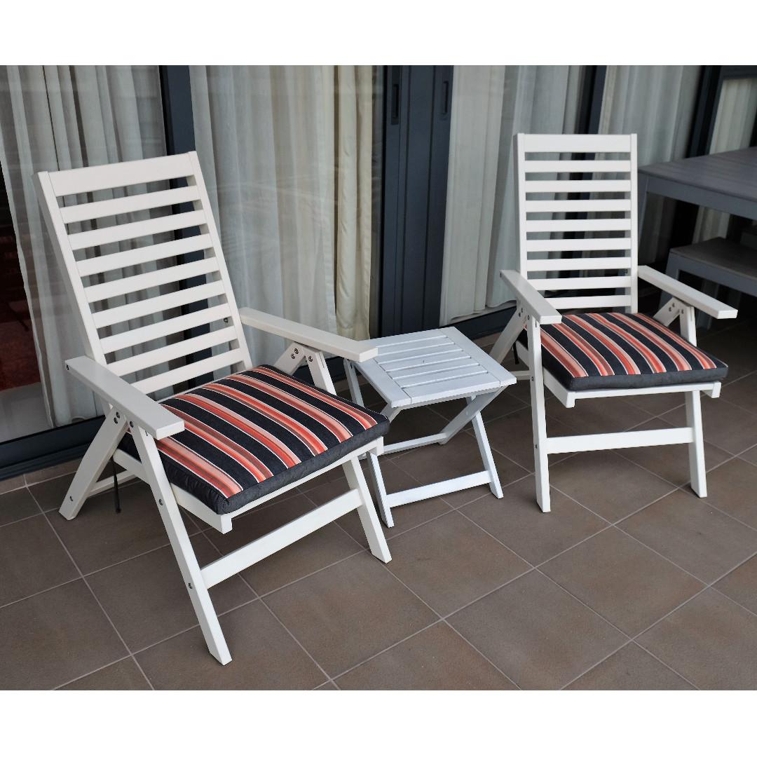 Marvelous Ikea 2 X Applaro Folding Reclining Chair In White Plus 2 X Machost Co Dining Chair Design Ideas Machostcouk