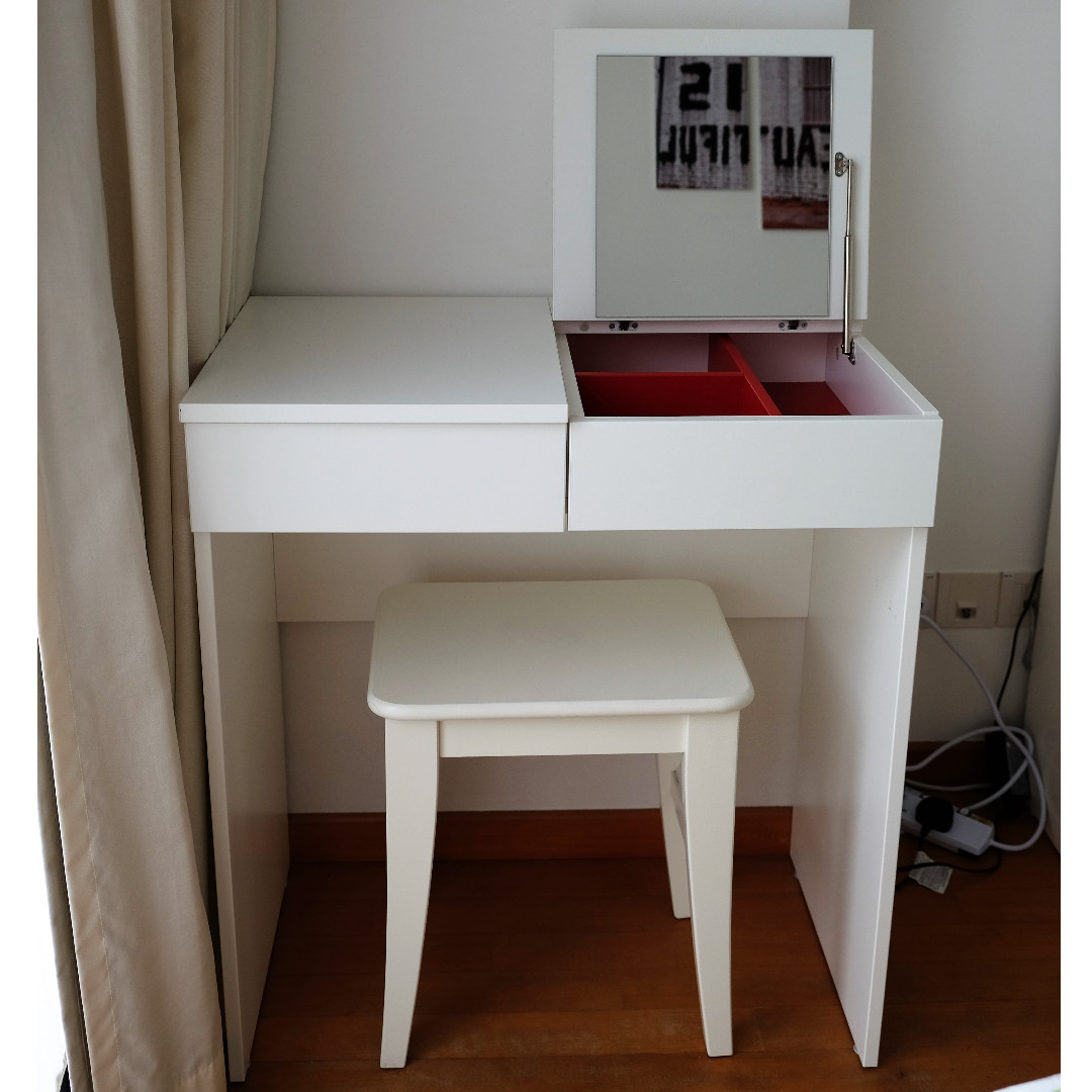 ikea brimnes white dressing table complete with an ingolf white stool furniture shelves. Black Bedroom Furniture Sets. Home Design Ideas