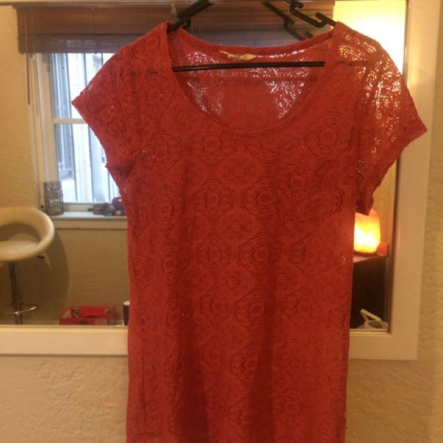 Lace burgundy T-shirt Size:L