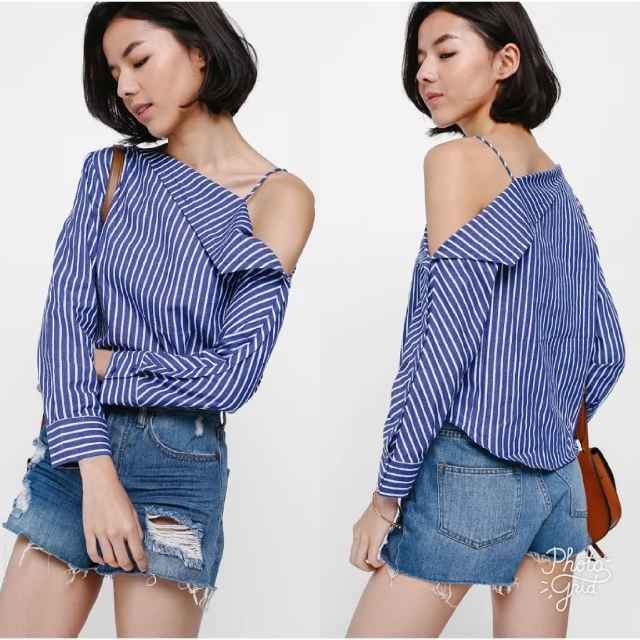 ee268ad3ece4d LB Toshay Striped Off Shoulder Top In Blue