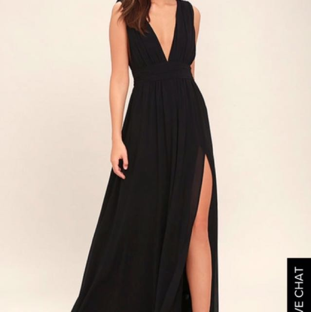 Lulu's Heavenly Hue's Black Maxi Dress