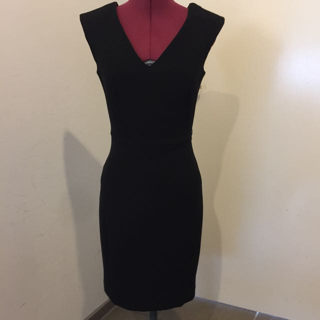 Mango Fitted Black Dress with V Plunge Neck