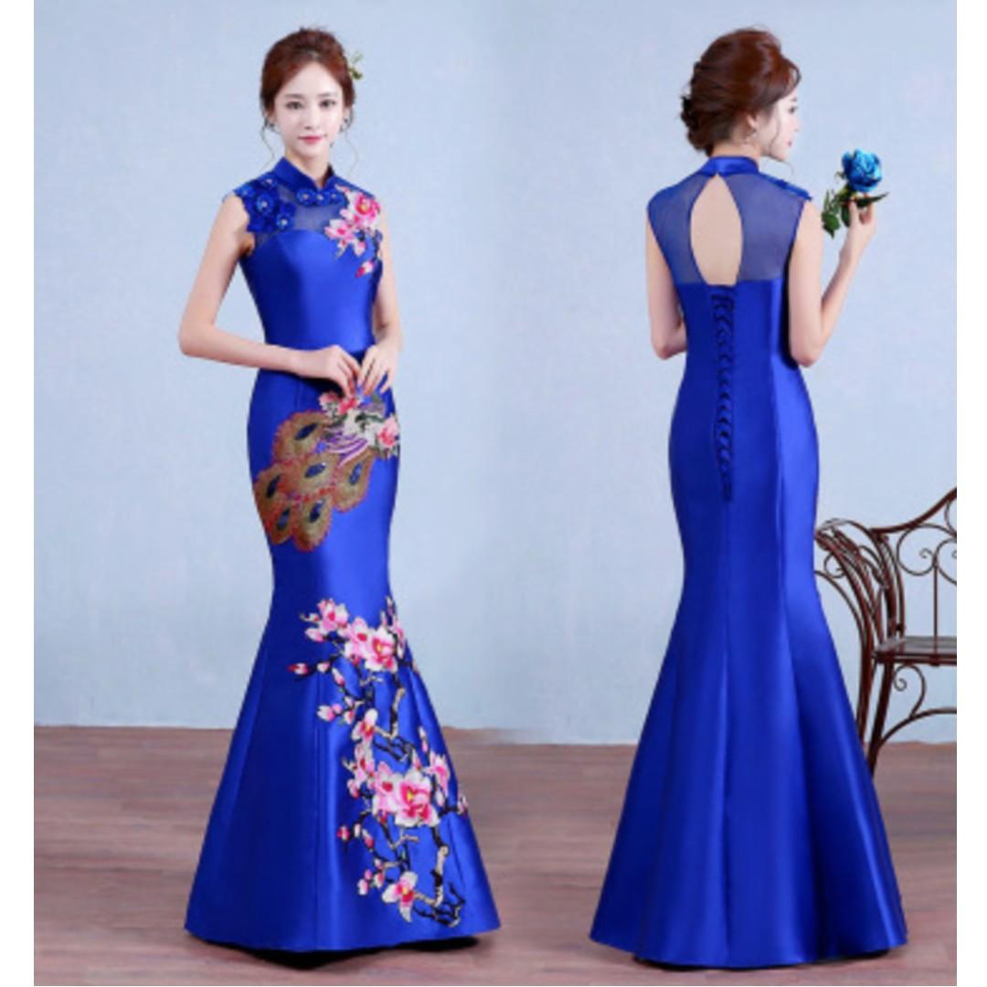 Mermaid Navy Blue Peony Embroidery Wedding Dress / Evening Dress ...